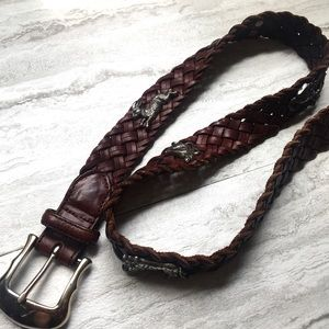 Brighton Vintage Leather Braided Animal Belt 30